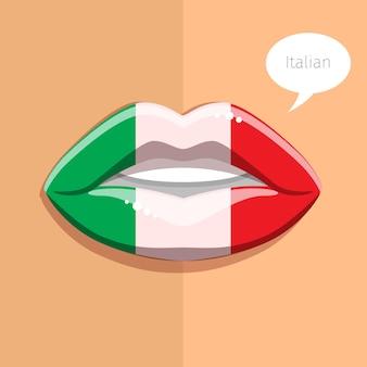이탈리아어 언어 개념. 이탈리아 국기, 여자 얼굴의 메이크업과 매력적인 입술.