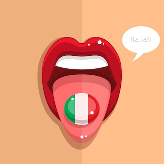 イタリア語の概念。イタリア語の舌はイタリア国旗、女性の顔で口を開けます。フラットなデザインのイラスト。