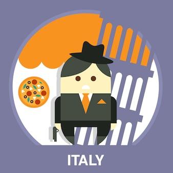 スーツのイラストのイタリアのマフィアの男性