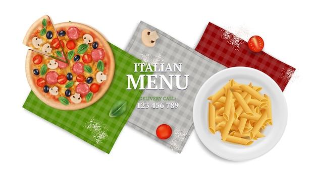 이탈리아 메뉴 배너입니다. 접시, 냅킨, 토마토에 피자 파스타입니다. 현실적인 음식, 이탈리아 레스토랑 또는 카페 벡터 삽화. 피자와 파스타가 포함된 이탈리아 메뉴, 요리 레스토랑 배너
