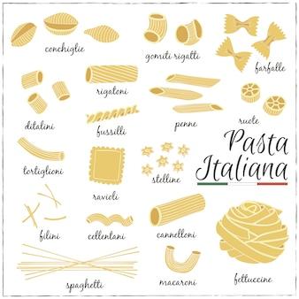 イタリアのパスタコレクションの図面。スケッチ。