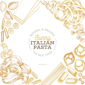 Italian pasta design. hand drawn vector food illustration. engraved style. retro pasta different kinds.