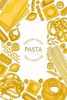 이탈리아 파스타 디자인 템플릿입니다. 손으로 그린 음식 그림. 빈티지 파스타 종류 배경입니다.