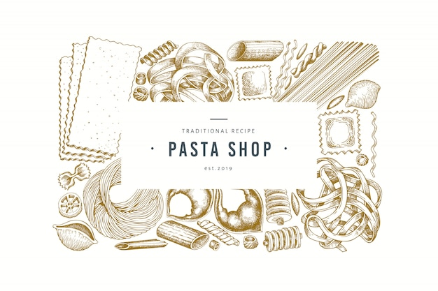 Italian pasta design template. hand drawn vector food illustration. engraved style.