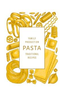 이탈리아 파스타 디자인 템플릿입니다. 손으로 그린 벡터 음식 그림.