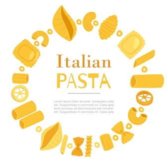 Italian pasta different types fusilli, spaghetti, gomiti rigati, farfalle and rigatoni, ravioli in circle frame template
