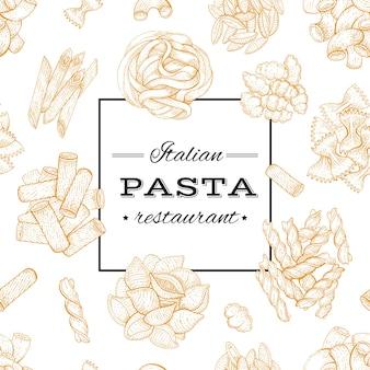 イタリアのパスタ。フードメニューのデザイン。パスタレストラン、ビンテージスタイルの手描きスケッチポスター