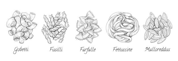 イタリアのパスタ。フードスケッチセット。マカロニを落書き。フェットチーネ、フジッリ、ゴベッチ、ニョッキ、ファルファッレ