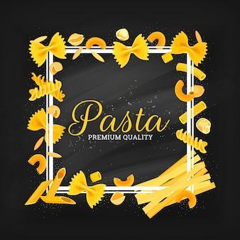 Italian pasta frame, farfalle, oregghiette and risoni, conchiglie, tortelline or orecciette