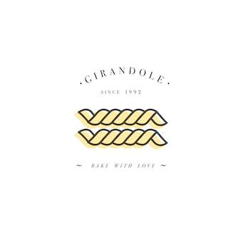 イタリアンパスタ。ジランドール。白で隔離される手描きイラスト