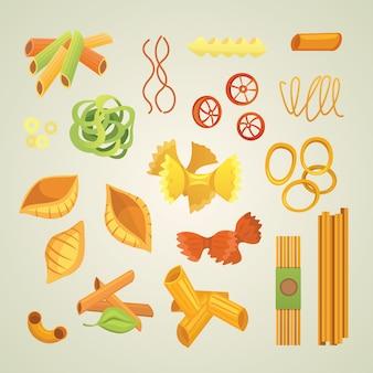 Итальянская паста в мультяшном стиле. различные типы и формы