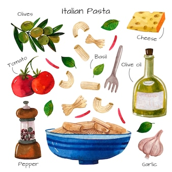 Italian pasta and ingredients watercolour recipe