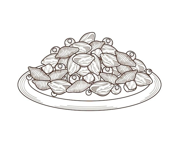 Italian pasta konkilonis and olives