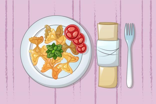 Итальянская паста на тарелке концепции, мультяшном стиле