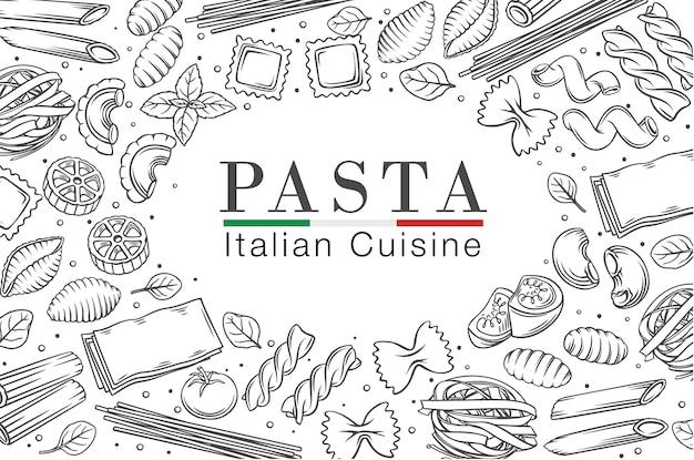 Итальянская паста или макароны рамка наброски иллюстрации