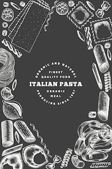 Italian pasta poster design. hand drawn vector food illustration on chalk board. engraved style