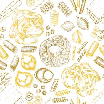 Italian pasta seamless pattern.