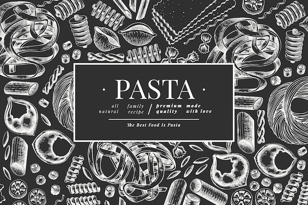 Italian pasta  template. hand drawn  food illustration on chalk board. engraved style. vintage pasta different kinds .