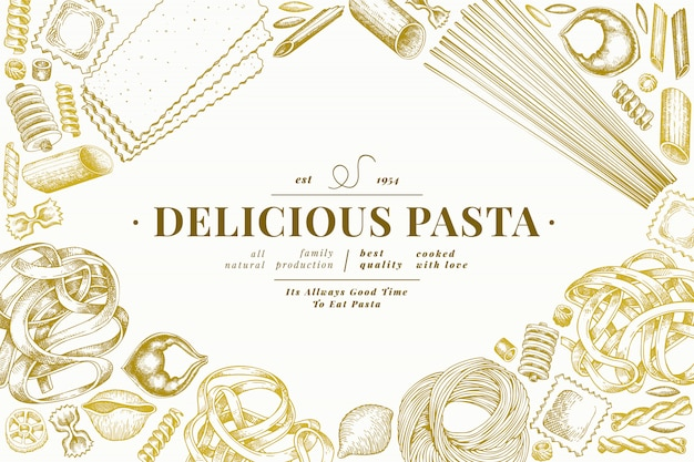 イタリアのパスタテンプレート。手描きの食べ物イラスト。刻まれたスタイル。