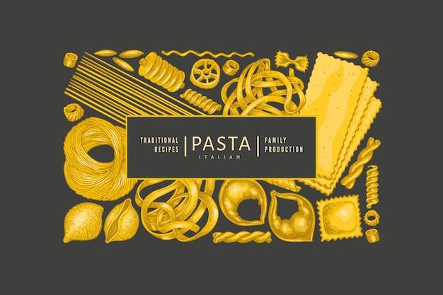 이탈리아 파스타 템플릿. 어두운 배경에 손으로 그린 음식 그림입니다. 빈티지 파스타 종류 배경입니다.