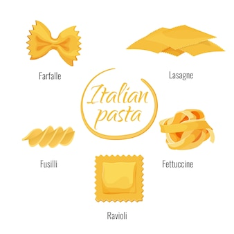 Italian pasta types vector isolated icons