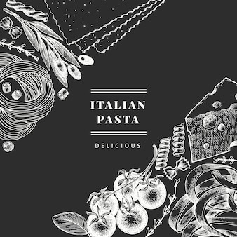 Italian pasta with additions design template. hand drawn food illustration on chalk board. engraved style.