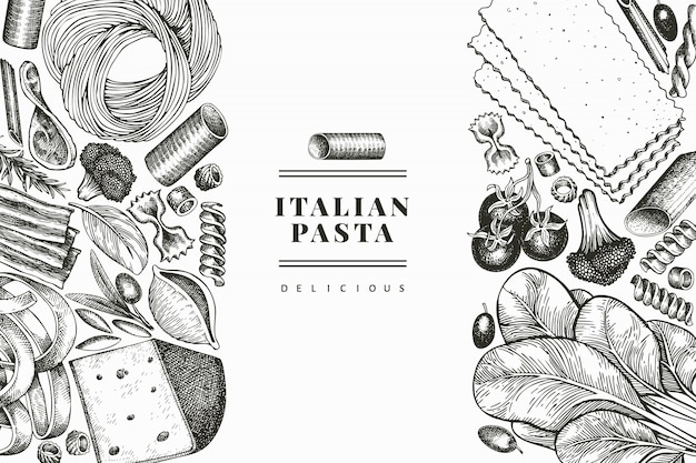Italian pasta with additions design template. hand drawn   food illustration. engraved style. vintage pasta different kinds background.