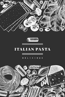 追加デザインテンプレートとイタリアのパスタ。チョークボードに描かれた食べ物のイラストを手します。刻まれたスタイル。ビンテージパスタのさまざまな種類の背景。