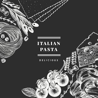 追加デザインテンプレートとイタリアのパスタ。チョークボードに描かれた食べ物のイラストを手します。刻まれたスタイル。