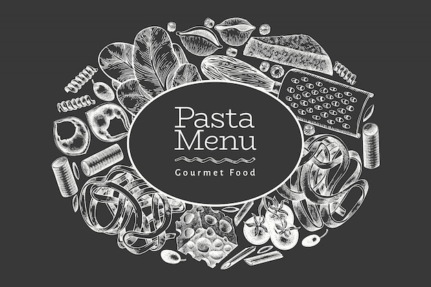 Italian pasta with additions. hand drawn vector food illustration on chalk board. engraved style. vintage pasta different kinds.