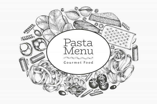 Italian pasta with additions  template. hand drawn  food illustration. engraved style. vintage pasta different kinds background.