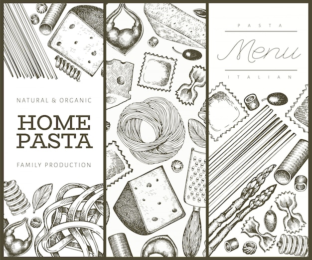 Italian pasta with additions  template. hand drawn  food illustration. engraved style.