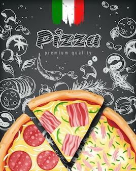 Italian pizza ads or menu with illustration rich toppings dough on engraved style chalk doodle background.