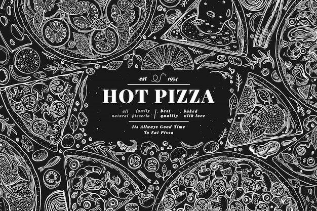 이탈리아 피자와 재료 프레임. 이탈리아 음식 배너 디자인 서식 파일입니다. 분필 보드에 레트로 손으로 그린 벡터 일러스트 레이 션 메뉴 또는 포장에 사용할 수 있습니다.