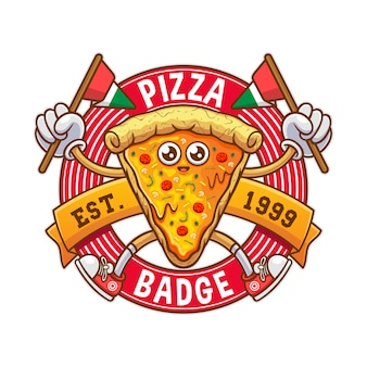 Italian pizza badge illustration