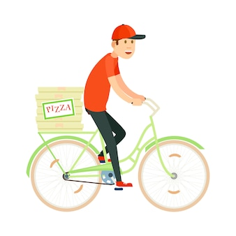 Italian pizza delivery with courier man