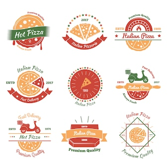 Italian pizza emblems set