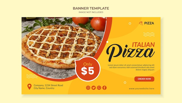 Italian pizza food banner template