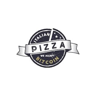 ビットコインのエンブレムのためのイタリアンピザ。