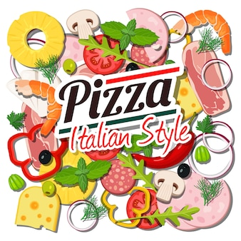 Italian pizza ingredients concept