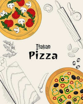 Italian pizza ingredients and cooking items top view food menu design template