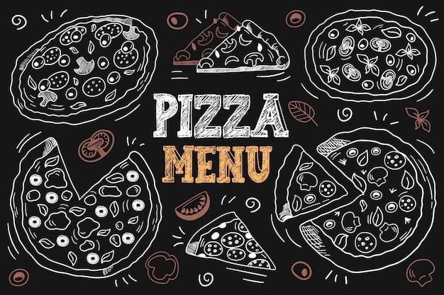 Меню итальянской пиццы. вручите оттянутую пиццу. набор векторных иллюстраций целую пиццу и кусок. векторный фон с графическими иллюстрациями пиццы