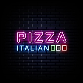 Italian pizza neon signs style text