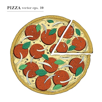Italian pizza pepperoni hand drawn vector illustration. can be use for pizzeria, cafe, shop, restaurant.