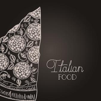 Italian pizza portion hand drawn italian food