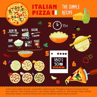 Italian pizza recipe infographic concept