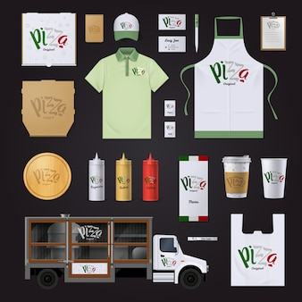Italian pizza restaurants chain corporate identity templates in national flag colors collection