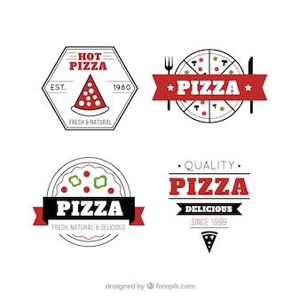 Italian pizza retro labels