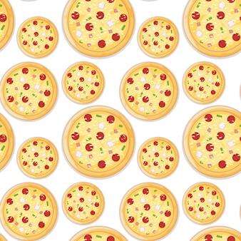 Italian pizza seamless pattern