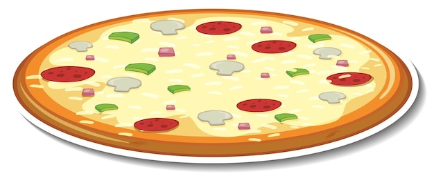 Adesivo pizza italiana su sfondo bianco
